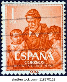 SPAIN - CIRCA 1960: A stamp printed in Spain issued for the 300th death anniversary of St. Vincent de Paul shows St. Vincent de Paul, circa 1960.