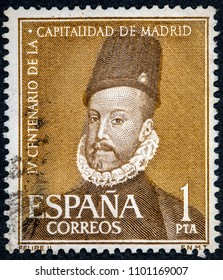 SPAIN - CIRCA 1961: A stamp printed in Spain shows King Felipe II
