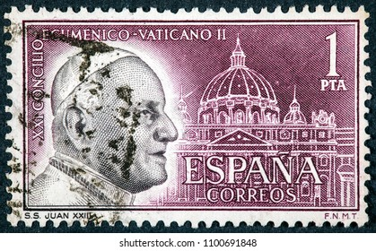 SPAIN - CIRCA 1962: Stamp printed by Spain, The Second Vatican Council was an ecumenical council of the Catholic Church convened by Pope John XXIII