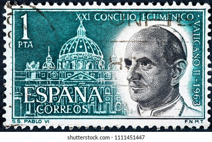 SPAIN - CIRCA 1962: Stamp printed by Spain, The Second Vatican Council was an ecumenical council of the Catholic Church convened by Pope Paul VI