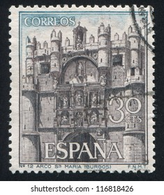SPAIN - CIRCA 1964: stamp printed by Spain, shows Facade of Santa Maria, circa 1964