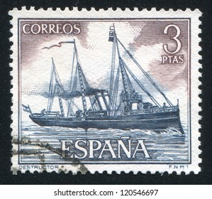 SPAIN - CIRCA 1964: stamp printed by Spain, shows Destroyer, circa 1964