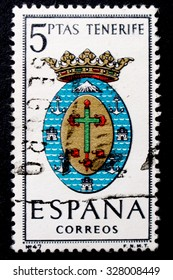 SPAIN - CIRCA 1965: A postage stamp printed in Spain dedicated to Arms of Provincial Capitals shows Tenerife, circa 1965