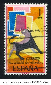 SPAIN - CIRCA 1965: stamp printed by Spain, shows Bull and Symbolic Stamps, circa 1965