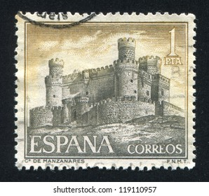 SPAIN - CIRCA 1966: stamp printed by Spain, shows Castle Manzanares, circa 1966