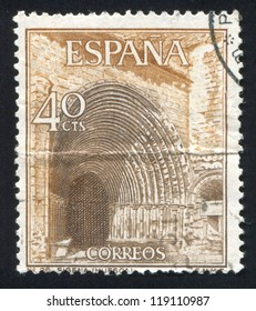 SPAIN - CIRCA 1966: stamp printed by Spain, shows Portal of Sigena Monastery in Huesca, circa 1966