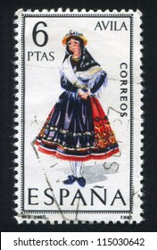 SPAIN - CIRCA 1967: stamp printed by Spain, shows woman Regional Costumes, circa 1967.