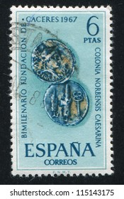 SPAIN - CIRCA 1967: stamp printed by Spain, shows Roman coins of Caceres, circa 1967