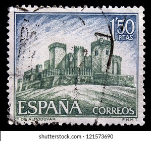SPAIN - CIRCA 1968: A stamp printed by Spain, shows Castle of Almodovar, circa 1968
