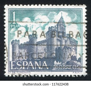 SPAIN - CIRCA 1969: stamp printed by Spain, shows Castle Turegano, Segovia, circa 1969