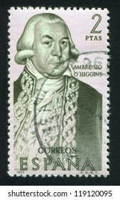 SPAIN - CIRCA 1969: stamp printed by Spain, shows Portrait of Ambrosio O'Higgins, circa 1969