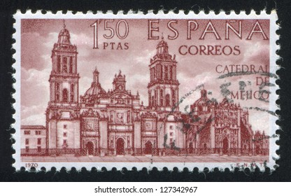 SPAIN - CIRCA 1970: stamp printed by Spain, shows Mexico Cathedral, circa 1970