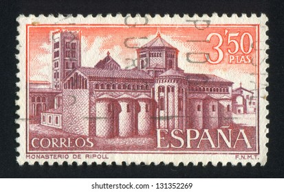 SPAIN - CIRCA 1970: stamp printed by Spain, shows Ripoll Monastery, View of monastery, circa 1970