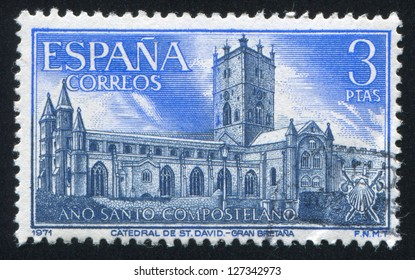 SPAIN - CIRCA 1971: stamp printed by Spain, shows Cathedral of St. David, Wales, circa 1971