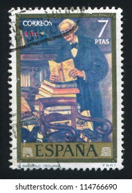 "SPAIN - CIRCA 1972: stamp printed by Spain, shows Painting ""Bibliophile"" by Gutierrez Solana, circa 1972"