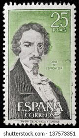 SPAIN - CIRCA 1974: stamp printed by Spain, shows Jose de Espronceda, circa 1974