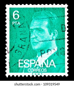 """SPAIN - CIRCA 1976: A stamp printed in Spain shows a portrait of King Juan Carlos I of Spain without inscription, with imprint �F.N.M.T.�, from the series """"King Juan Carlos I"""", circa 1976."""