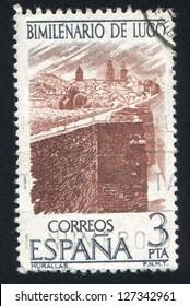 SPAIN - CIRCA 1976: stamp printed by Spain, shows Lugo city wall, circa 1976