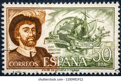 SPAIN - CIRCA 1978: A stamp printed in SPAIN shows Juan Sebastian Elcano