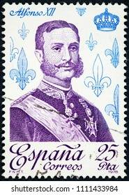 SPAIN - CIRCA 1978: A stamp printed by Spain shows King Alfonso XII