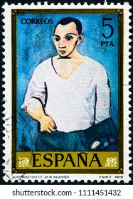 SPAIN - CIRCA 1978: stamp printed by Spain shows picture self-portrait painted by Paul Ruiz Picasso