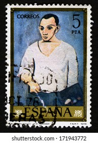 SPAIN CIRCA 1978, A stamp printed in Spain shows canvas image Autoretrato. by Pablo ruioz Picasso. 1978