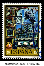 "SPAIN CIRCA 1978, A stamp printed in Spain shows a canvas image "" Los pichones"" by Pablo Ruiz Picasso"