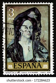SPAIN CIRCA 1978. A stamps printed in Spain shows a canvas Retrato Sra Canals by Pablo Ruiz Picasso
