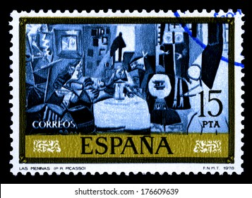 "SPAIN CIRCA 1978. A stamps printed in Spain shows a canvas image ""las meninas"" by Pablo Ruiz Picasso  homage  to Diego Velazquez"