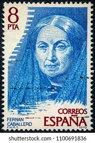 SPAIN - CIRCA 1979: Stamp printed by Spain shows Fernan Caballero was the pseudonym used by the Spanish writer Cecilia Bohl de Faber y Ruiz de Larrea