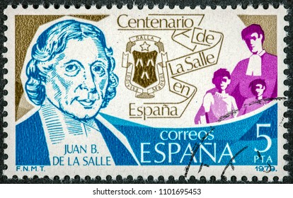 SPAIN - CIRCA 1979: A stamp printed in Spain shows Juan B. De La Salle