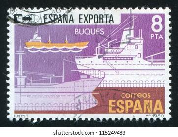 SPAIN - CIRCA 1980: stamp printed by Spain, shows ship, circa 1980