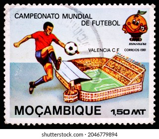 SPAIN - CIRCA 1981: A postage stamp from Spain showing Campeonato Mundial De Futebol Mocambique