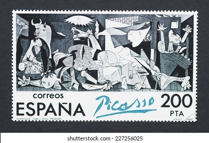 SPAIN - CIRCA 1981: a postage stamp printed in Spain showing an image of Guernica a Pablo Picasso painting, circa 1981.