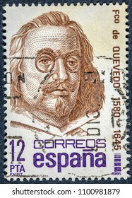 SPAIN - CIRCA 1981: stamp printed by Spain, shows Francisco de Quevedo