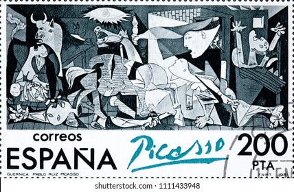 SPAIN - CIRCA 1981: Stamp printed in Spain shows painting by Pablo Picasso Guernica