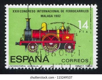 SPAIN - CIRCA 1982: stamp printed by Spain, shows Locomotive, circa 1982