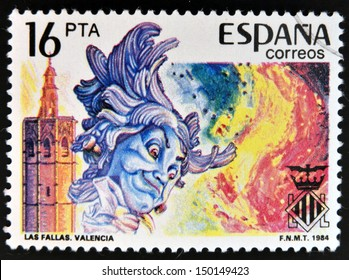 SPAIN - CIRCA 1984: stamp printed in Spain shows Las Fallas in Valencia, circa 1984