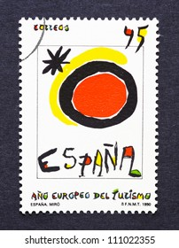 SPAIN - CIRCA 1990: A postage stamp printed in Spain showing an image of the Spanish tourism symbol created by Joan Miro, circa 1990.