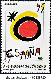 SPAIN - CIRCA 1990: A stamp printed in spain shows Spanish tourism symbol created by Joan Miro, circa 1990