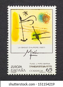 SPAIN - CIRCA 1993: a postage stamp printed in Spain showing an image of a Joan Miro painting, circa 1993.