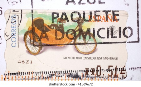 SPAIN - CIRCA 1993: A stamp printed in Spain shows image of a bicycle with sidecar, series, circa 1993