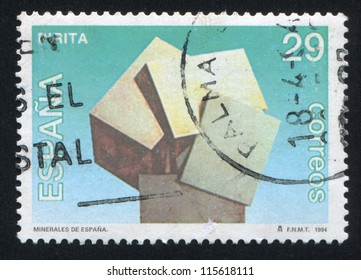 SPAIN - CIRCA 1994: stamp printed by Spain, shows mineral pyrite, circa 1994
