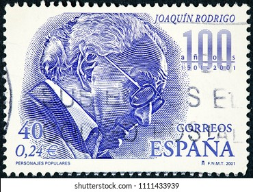 SPAIN - CIRCA 2001: A stamp printed in Spain shows Joaquin Rodrigo