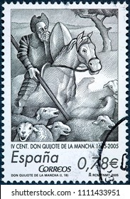 SPAIN - CIRCA 2005: A stamp printed in Spain shows illustrating scene of Don Quixote