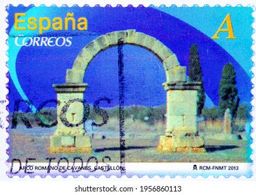 """SPAIN - CIRCA 2012: A stamp printed in Spain from the """"Cultural Monumental arches and doors """" issue shows Roman arch of Roman arch of Cavanes Castellon, circa 2012."""
