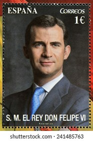 SPAIN - CIRCA 2014: A stamp printed in Spain shows the king of spain, Felipe VI, circa 2014