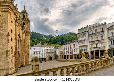 Mondoñedo, Spain. Circa August 2018. View of old town Mondoñedo and its historic cathedral.