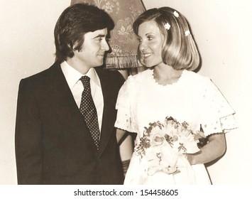 spain, CIRCA  - Groom and bride, official photos - circa 1975