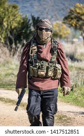 "Spain, cordoba.on January 15, 2017, airsoft game organized by the club ""Tactico Airsoft Rhino Group"""